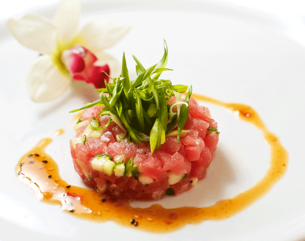 Fresh Tuna Tartare with Orange-Black Sesame Sauce