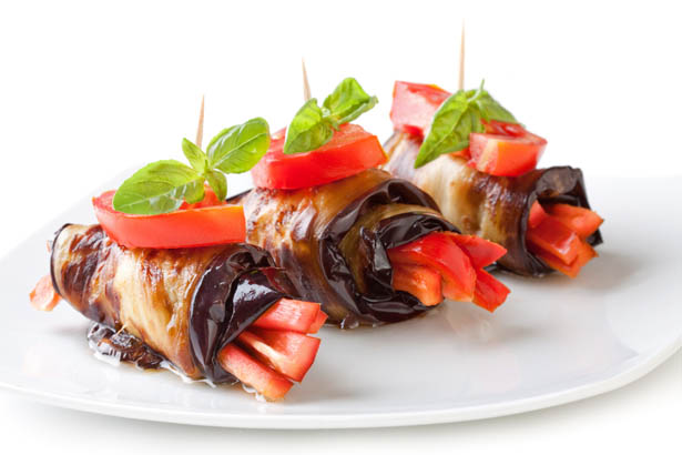 Easy Recipe: Vinegar-Dressed Eggplant Roll Ups with Tomato and Basil