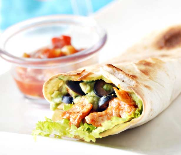 Easy Recipe - Spicy Chicken Burrito with Avocados and Tomato Salsa