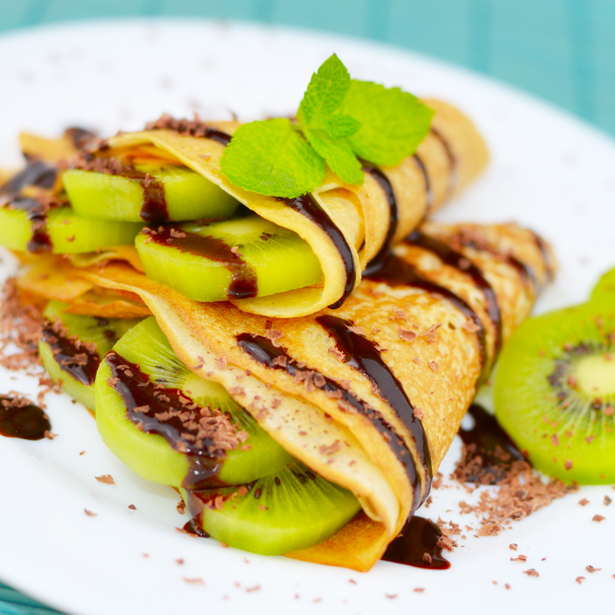 Kiwi Crepes with Rich Chocolate Drizzle