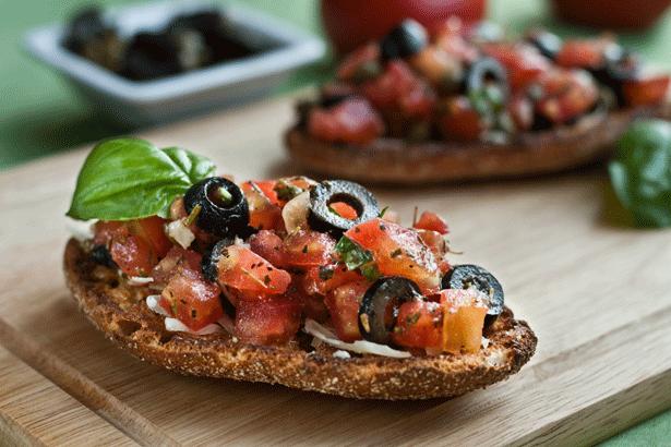 Balsamic Tomato Bruschetta with Fresh Basil & Olives