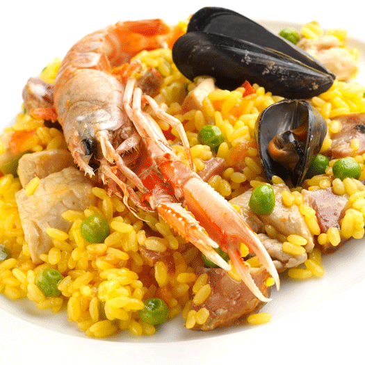 Spanish Paella with Mussels and Prawns