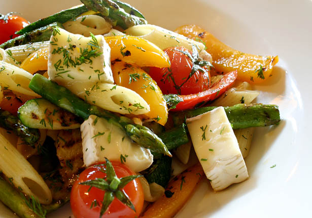 Tangy Penne with Grilled Spring Vegetables and Brie
